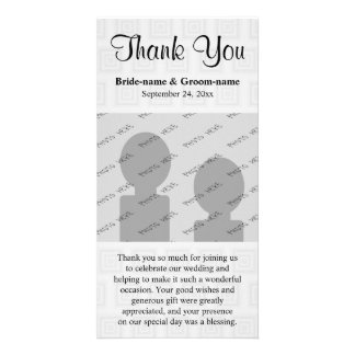 Wedding Thank You Design Pale Gray with Squares. Customized Photo Card