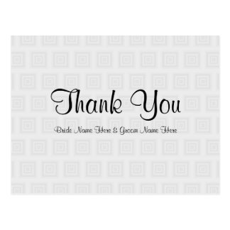 Wedding Thank You Design Pale Gray with Squares. Postcard