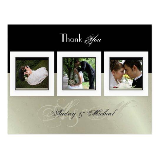 WEDDING THANK YOU DIY COLOR/ 3 PHOTO FRAMES POSTCARD