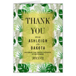 Wedding Thank You | Exotic Green Tropical Leaves Card