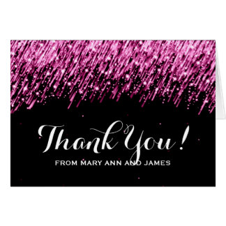 "Wedding ""Thank you"" Falling Stars Pink Card"