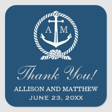 Plush_Paper Wedding Thank You Favor Sticker | Nautical Theme