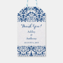 Wedding Thank You Favor Tag Damask Navy Blue White Pack Of Gift Tags