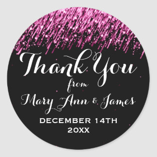Wedding Thank You Favor Tag Falling Stars Pink