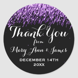 Wedding Thank You Favor Tag Falling Stars Purple