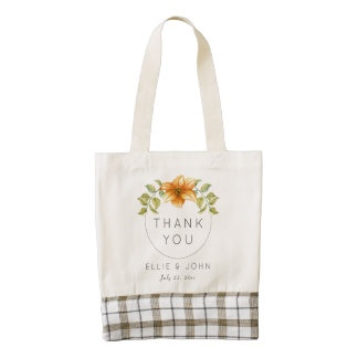 Wedding Thank You Favor Watercolor Star Flower Zazzle HEART Tote Bag