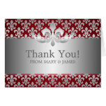 "Wedding ""Thank you"" Fleur De Lis Red Greeting Cards"