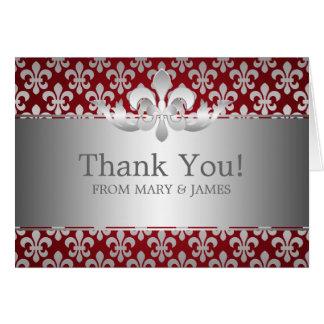 """Wedding """"Thank you"""" Fleur De Lis Red Card"""