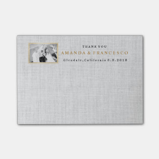 Wedding Thank You Gift Favor Burlap Gray Post-it Notes
