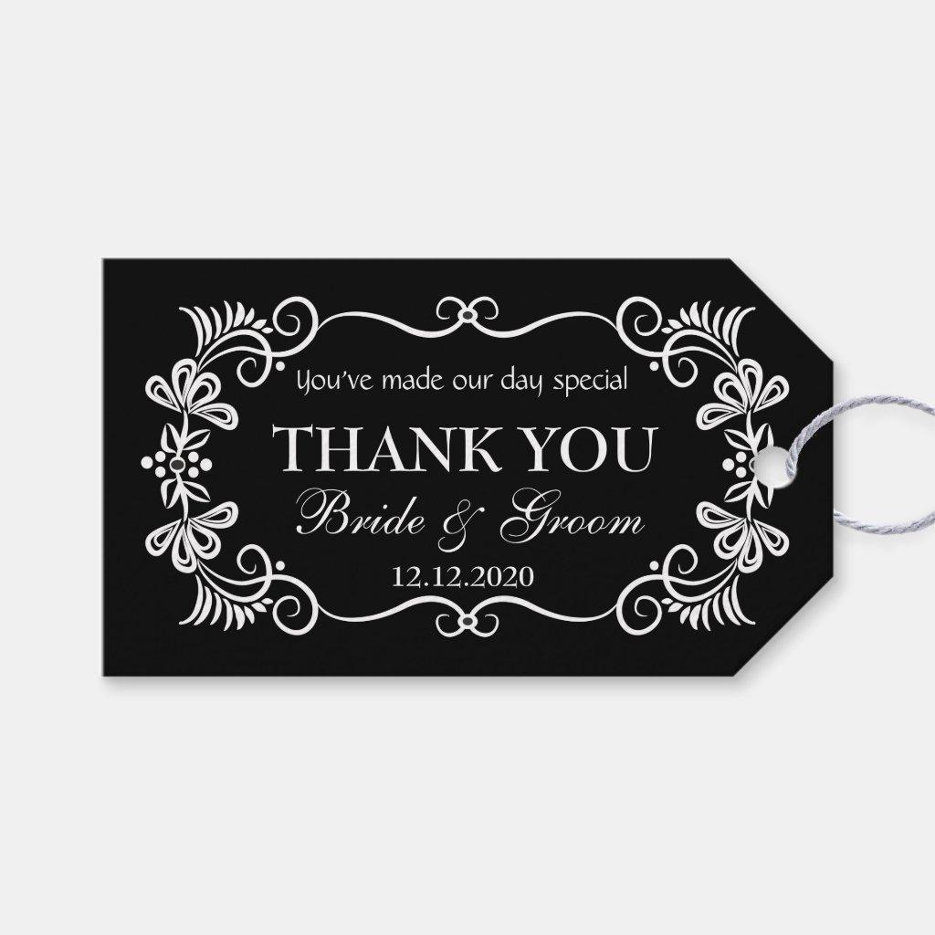 Wedding Thank You Gift Tags | Black White Swirls