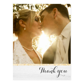 Wedding Thank You Gold and White Postcard