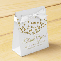 Wedding Thank You Gold Faux Glitter Confetti White Favor Box