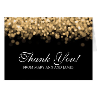 """Wedding """"Thank you"""" Gold Lights Cards"""