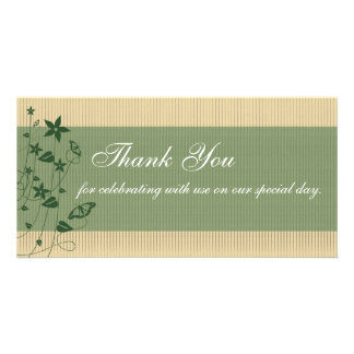 Wedding Thank You   Green Flower Butterfly Customized Photo Card