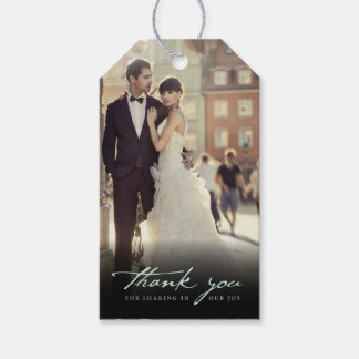 Wedding Thank You Handwrite Script Photo Gift Tags Pack Of Gift Tags