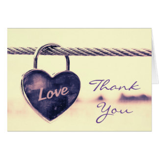Wedding Thank You Heart Shaped Love Padlock Card