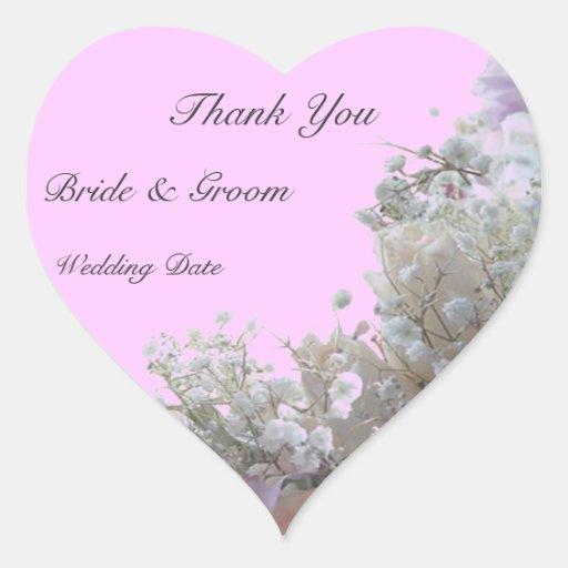 Wedding thank you heart sticker zazzle