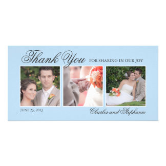 Wedding Thank You in Blue Three Photo Card