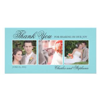 Wedding Thank You in Blue Three Photo Card