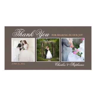 Wedding Thank You in Mocha Brown Photo Card