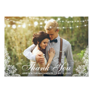 Wedding Thank You Lace and String Lights Photo Card
