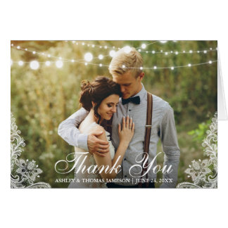 Wedding Thank You Lace String Lights Photo Fold Card