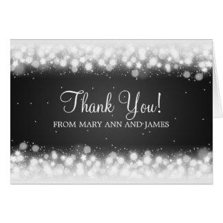 "Wedding ""Thank you"" Magic Sparkle Black Greeting Card"