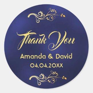 Wedding thank you midnight blue faux gold decor classic round sticker