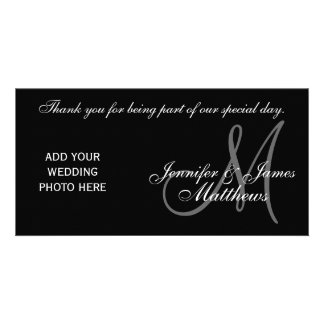 Wedding Thank You Monogram and Message PhotoCard Card