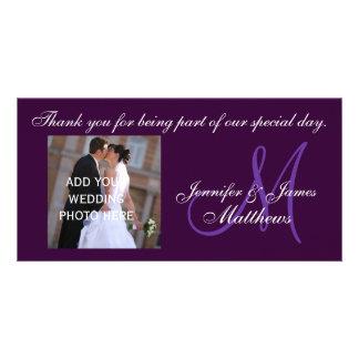 Wedding Thank You Monogram Message Purple Photo Card