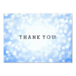 Wedding Thank You Note Blue Glitter Lights Card