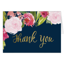 Wedding Thank You Note Card - Navy and Gold