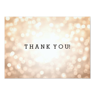 Wedding Thank You Note Copper Glitter Lights Card