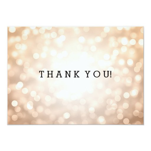Wedding Thank You Note Copper Glitter Lights Customized Invitation Cards