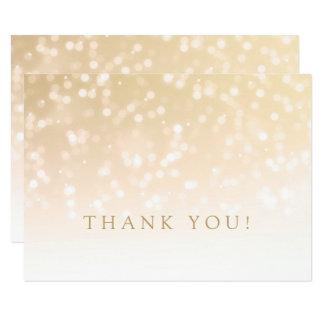 Wedding Thank You Note Gold Bokeh Sparkle Lights Card