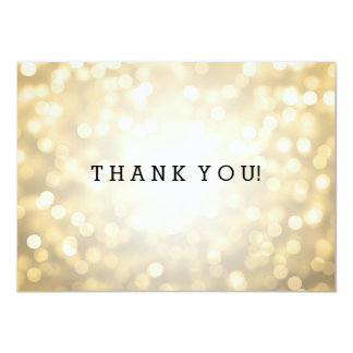 Wedding Thank You Note Gold Glitter Lights 4.5x6.25 Paper Invitation Card