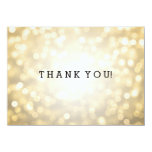 Wedding Thank You Note Gold Glitter Lights Card