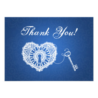 Wedding Thank You Note Key To My Heart Blue Announcements