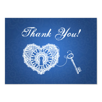 Wedding Thank You Note Key To My Heart Blue 4.5x6.25 Paper Invitation Card