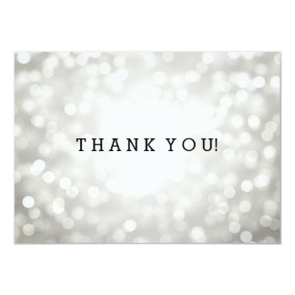 Wedding Thank You Note Silver Glitter Lights Card