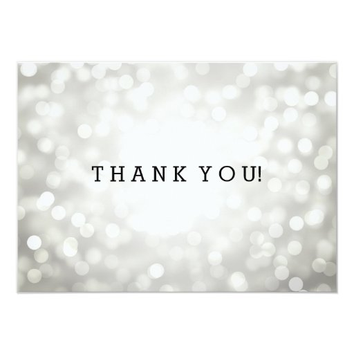 Wedding thank you note silver glitter lights card zazzle