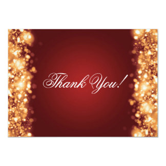 Wedding Thank You Note Sparkling Lights Gold Card