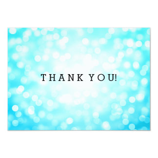 Wedding Thank You Note Turquoise Glitter Lights Card