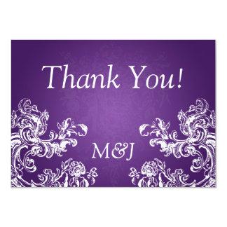 Wedding Thank You Note Vintage Swirls 2 Purple Card