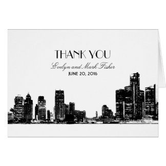 Wedding Thank You Notes | Art Deco Detroit Skyline Greeting Card