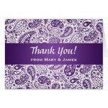 "Wedding ""Thank you"" Paisley Pattern Purple Greeting Card"