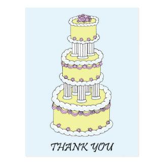 Wedding Thank You pastel multi tiered cake. Postcard