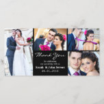 """Wedding Thank You Photo Card<br><div class=""""desc"""">This wedding photos thank you card is in classic black and allows for four wedding photos.  It&#39;s ready to personalized.</div>"""