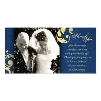 Wedding Thank You Photo Card - Blue Gold Texture