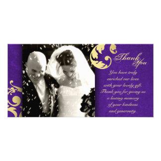Wedding Thank You Photo Card - Purple Gold Texture